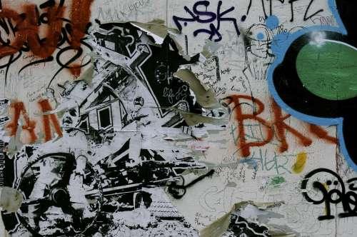 Berlin Wall Sprayer Spray Graffiti Grunge Wall