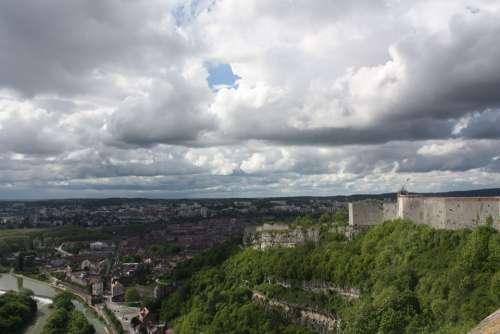 Besançon France Landscape Clouds Castle River