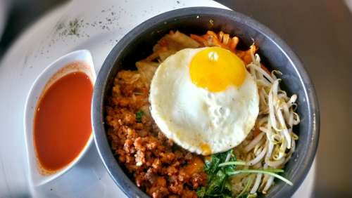 Bibimbap Korean Cuisine Rice Egg Fried Egg Asian