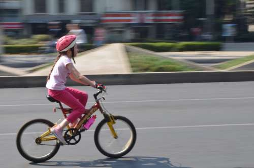 Bicycle Child Girl Cycling City Mexico Bike