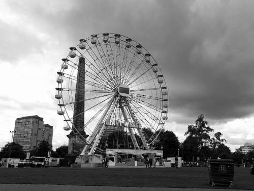 Big Wheel Fairground Black And White Monochrome
