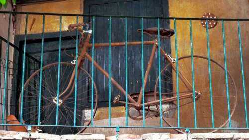 Bike Bicycle Two Wheels Balcony Blue Yellow