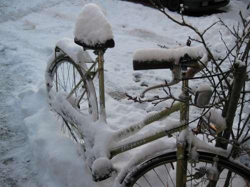 Bike Eingschneit Old Snow Winter Cold White