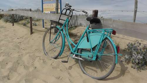 Bike Turquoise Wheel Dunes Sand North Sea Sea