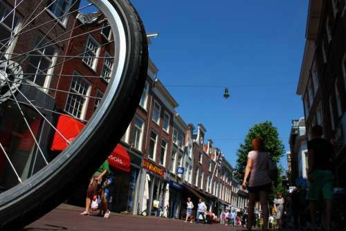Bike Mature City Center Pedestrian Zone Holland