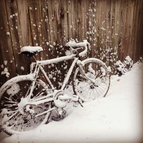 Bike Snow Fence Winter Bicycle White Wheel Cold