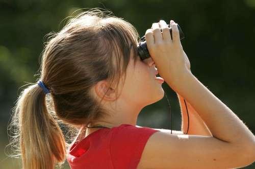 Binoculars Watching Girl Blonde Kids Children
