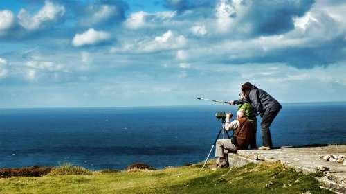 Binoculars Search View Sky People Clouds Water