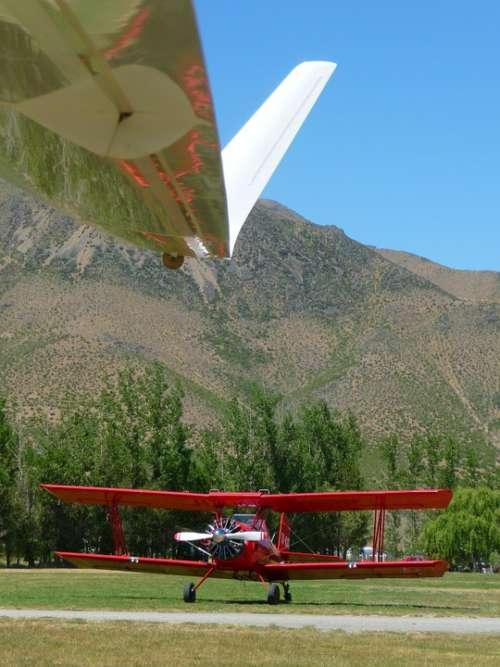 Biplane Red Transportation Airplane Aircraft Plane