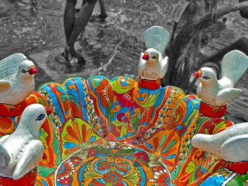 Birdbath Garden Outdoors Colorful Water Decorative