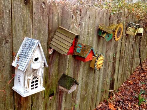Birdhouse Fence Antique Rustic Backyard Farm