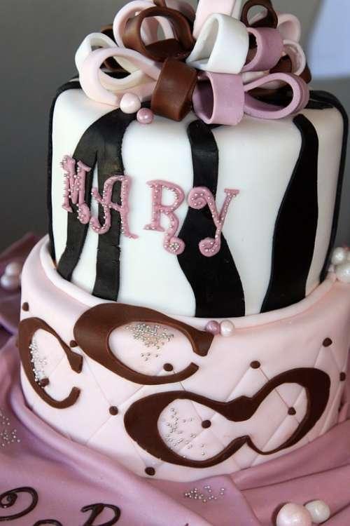 Birthday Cake Pink Black White Sweets Dessert