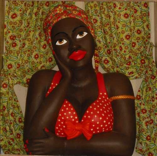 Black Doll Statue Window Flirt Woman Bahia