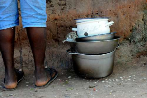Black Dishes Dirty Bowl Lunch Poverty African