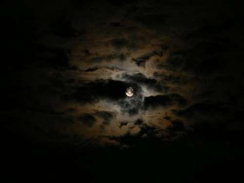 Black Clouds Dark Moon Night Sky Nature