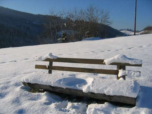 Black Forest Bank Winter Sit Rest Reprint Snow