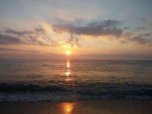 Black Sea Sunrise Water Beach Sun Summer Romania