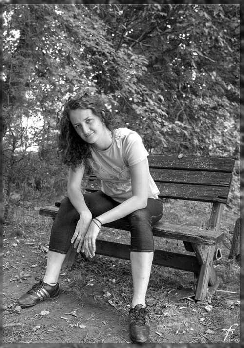Black White Bench Female Woman Beautiful Park