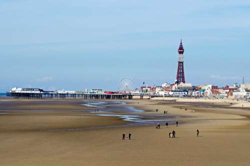 Blackpool Tower Attraction Sea Beach Landscape