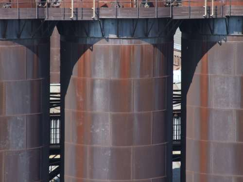 Blast Furnace Iron Metal Rust Silos Industry