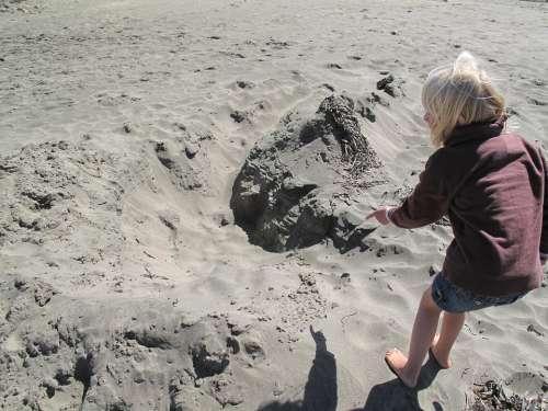 Blond Blonde Child Girl Sand Beach Pointing
