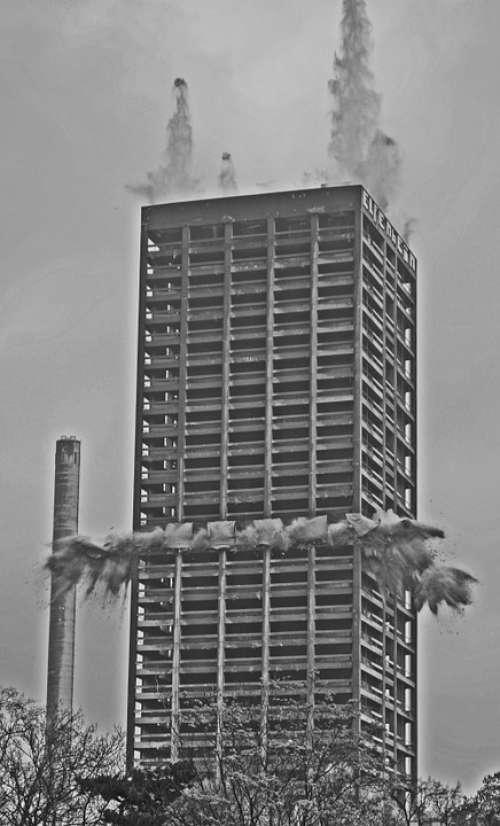 Blowing Up Afe Tower Frankfurt Demolition Explosion