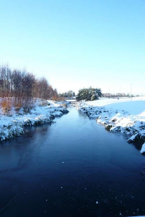 Blue Winter Water Stream River Snow Scenic