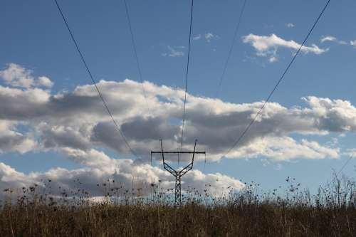 Blue Energy Fall Gorj High-Voltage Lines Power