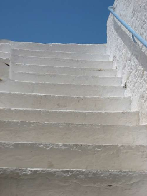 Blue Island Crete Greece Stairs Rise Sky Blue