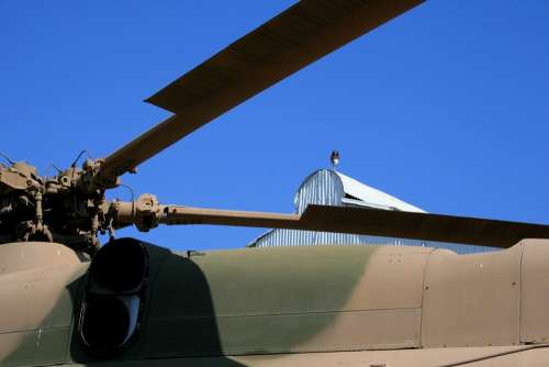 Blue Sky Roof Of Helicopter Blades Of Helicopter