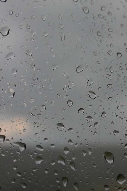 Blurred Drops Glass Rain Raindrops Storm Water