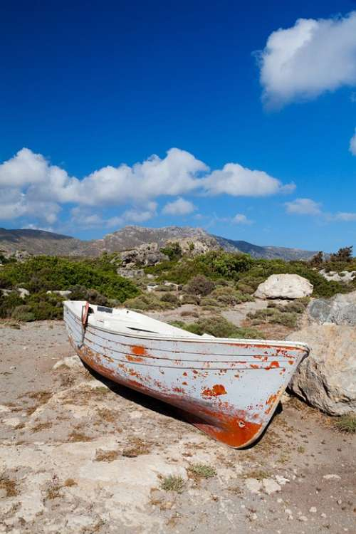 Boat Dry Land Landscape Old Wooden Environment