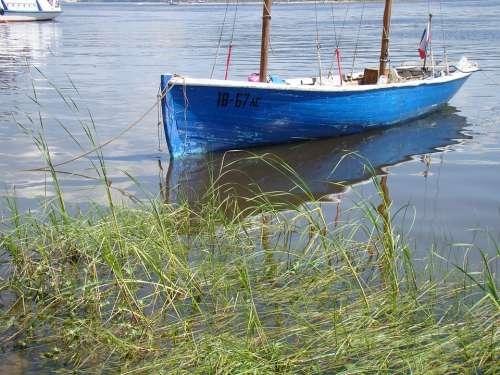 Boat Beach Grass River Summer Sun Volga Samara
