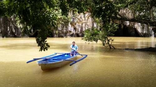 Boat Man Cave Lagoon Fisherman Burma Myanmar