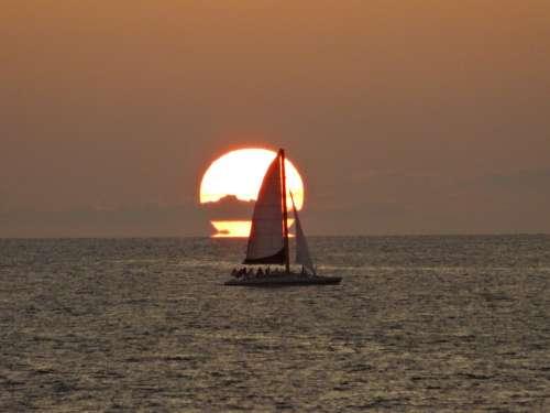 Boat Sunset Mar Beach Horizon