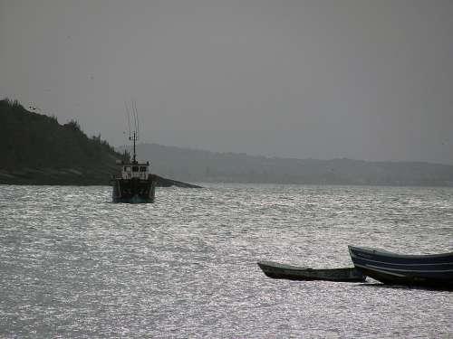 Boat Cove Eventide Mar Horizon Beira Mar Litoral