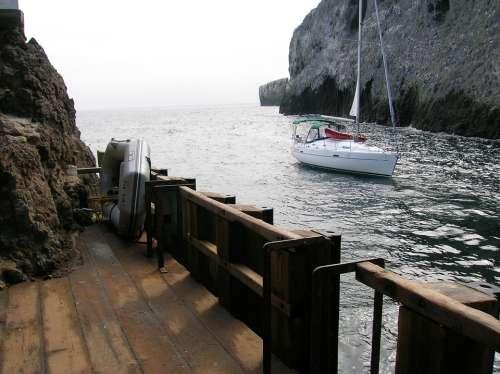 Boat Ocean Dock Anacapa Island California Channel