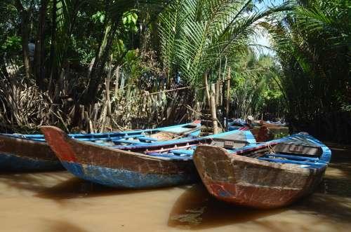 Boat Sampan Travel Vietnam River Transportation
