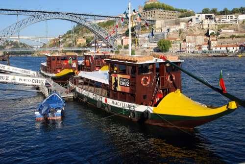 Boat Oporto Portugal River Duero Iron Bridge