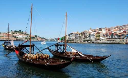 Boat Ancient Barrel Oporto Portugal River Wine