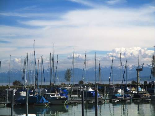 Boat Harbour Water Sky Clouds Mood Romanshorn