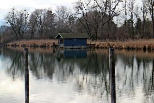 Boat House Waters Water Bank Nature Trees Autumn