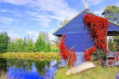 Boathouse Scenic Landscape Autumn Lake Nelson