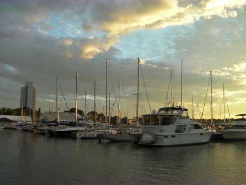Boats Harbor Sunset Sky Water Clouds