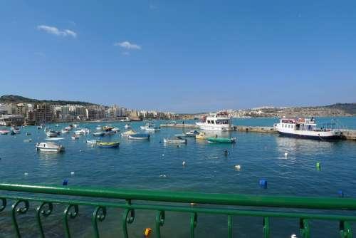 Boats Colorful Water Marsamxett Malta