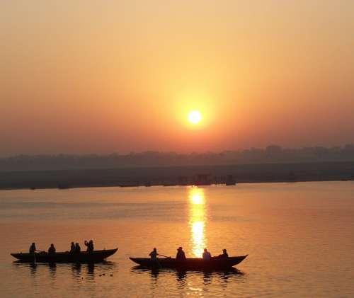 Boats Water Tourists Varanasi Ganga Ganges Orange