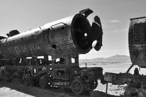 Bolivia Uyuni South America Train Black And White