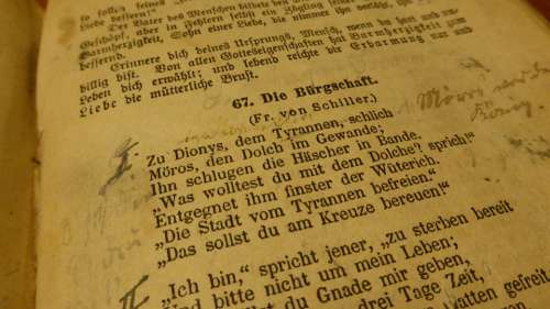 Book Poem Old Book Friedrich Schiller Notes