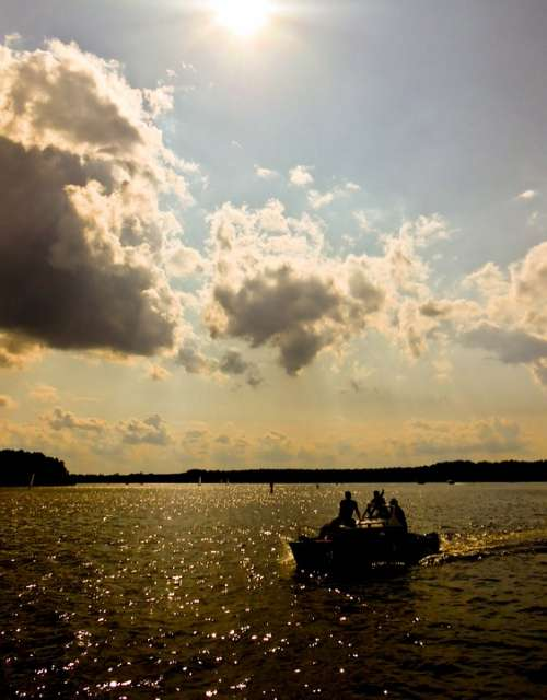 Boat Lake Sunset Water Ship Dark Clouds