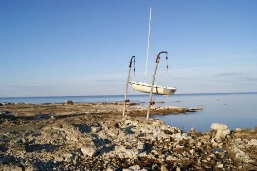 Boat Sea Coast Rock Stone Water Europe Croatia